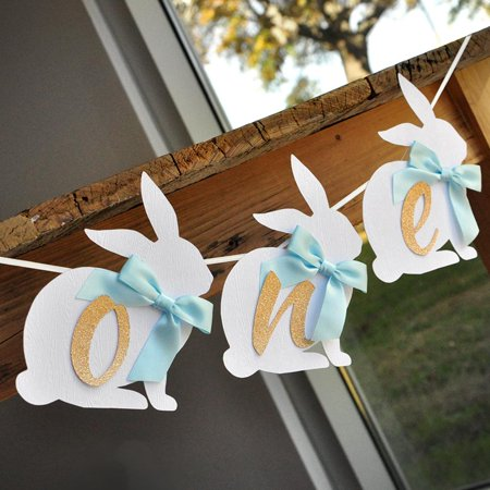 Peter Rabbit One Highchair Banner. One Bunny Banner. Baby Blue Some Bunny is One Party Decorations.](Bunny Party Supplies)
