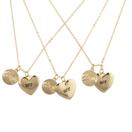 Lux Accessories Goldtone Pinky Swear BFF Best Friends Forever Charm Necklace - Best Friends Forever Necklaces