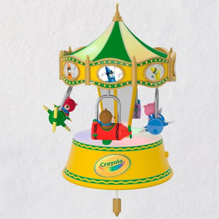 Hallmark Keepsake 2018 Crayola® A Beary Colorful Ride Airplane Musical Ornament With Light and
