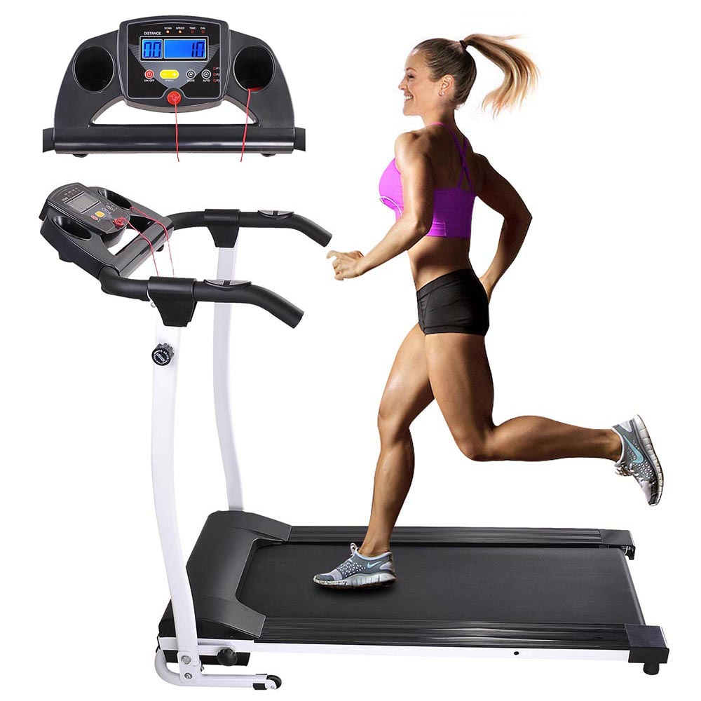 1100W Folding Electric Treadmill Portable Power Motorized Machine Running Jogging Gym Exercise Fitness White