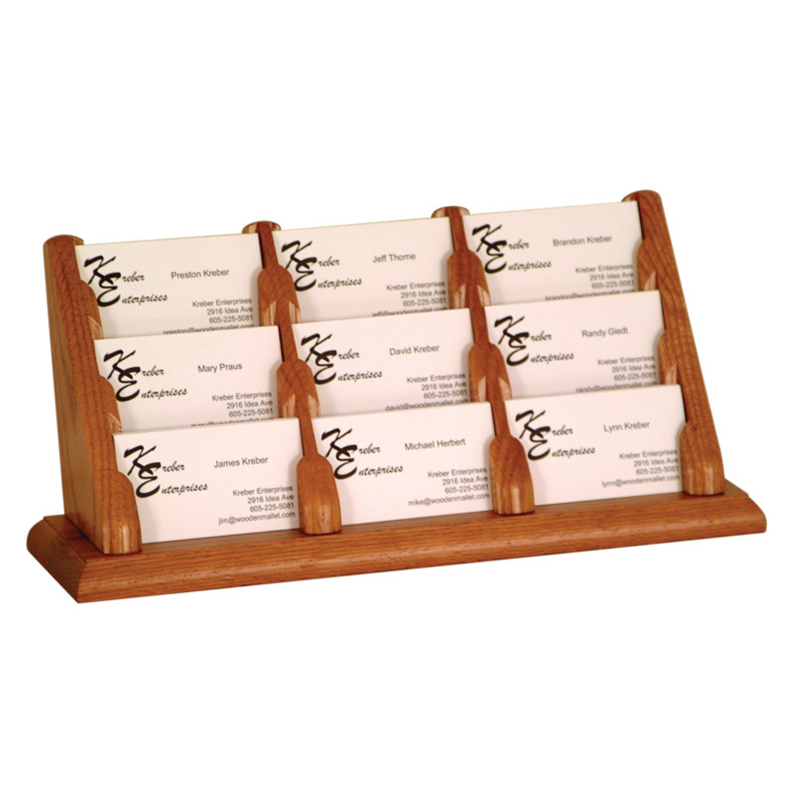 Wooden Mallet 9-Pocket Counter Top Business Card Holder