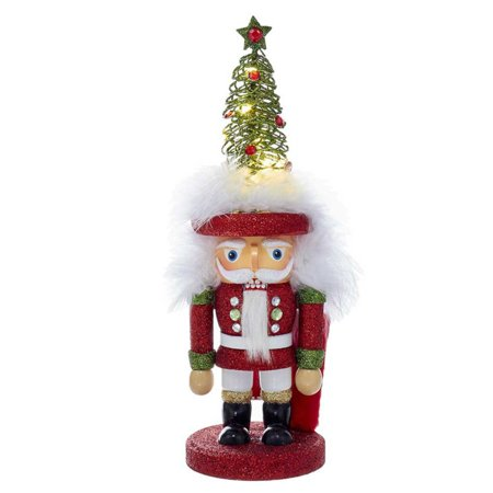 Kurt S. Adler 12 in. Hollywood Red and Green LED Tree Hat Nutcracker