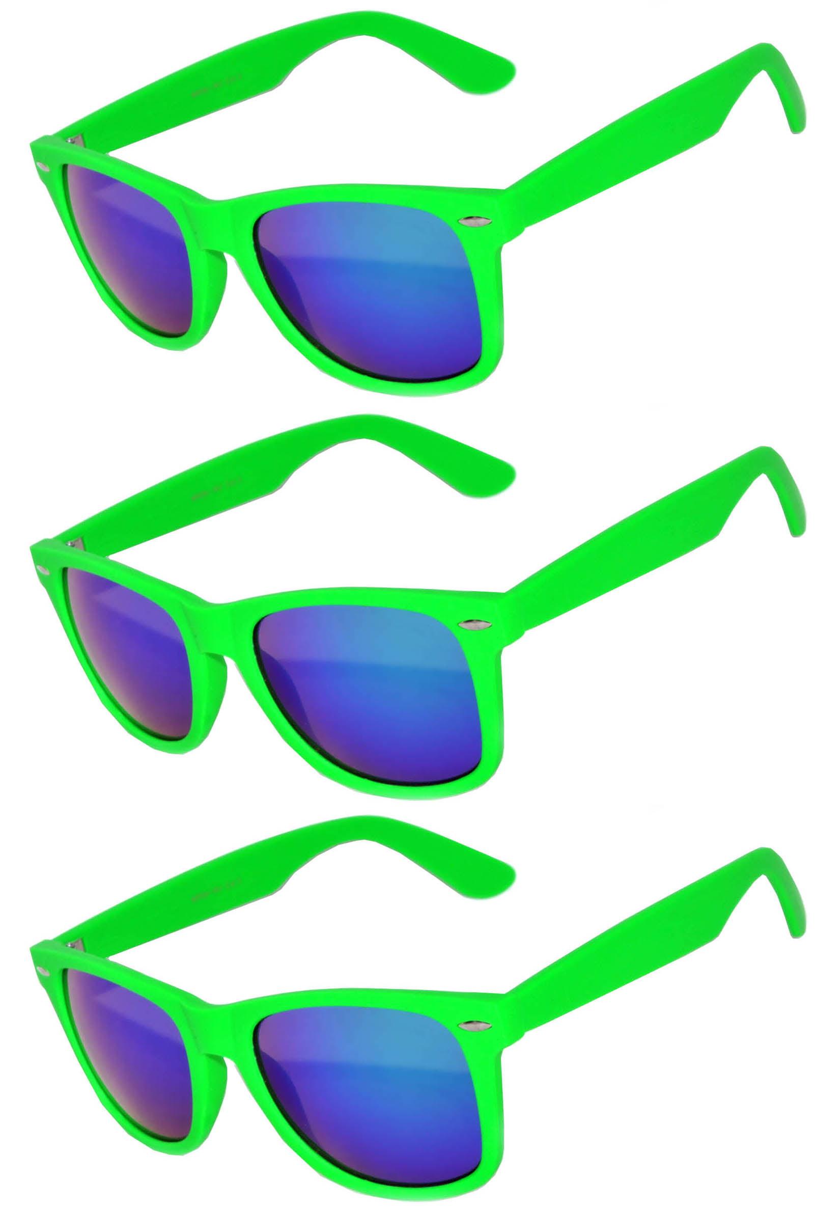 Retro Matte 80's Vintage Party Sunglasses Green Frame Blue Lens OWL (3 Pack)