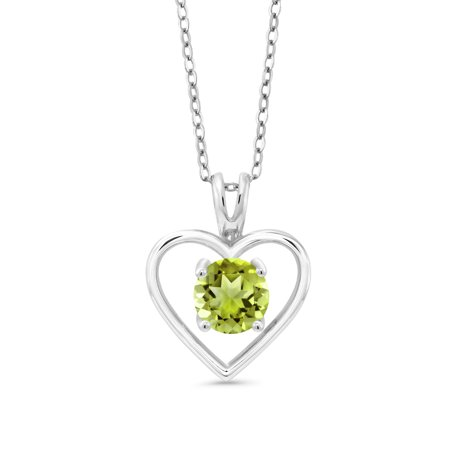 1.00 Ct Round Green Peridot 925 Sterling Silver Pendant With Chain