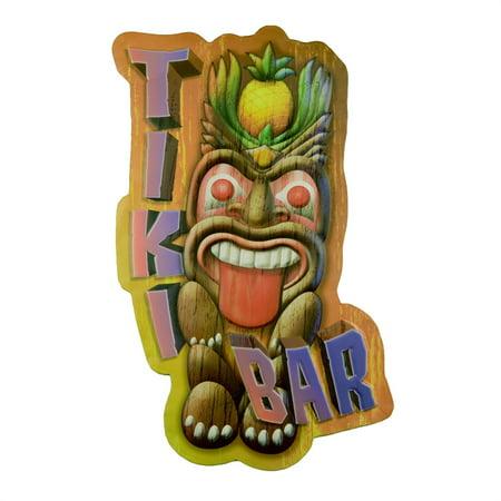 Large Crazy Tiki Bar Lounge 3D Tin Sign Beach Party Luau Coastal Home Wall Decor - Beach Party Decor