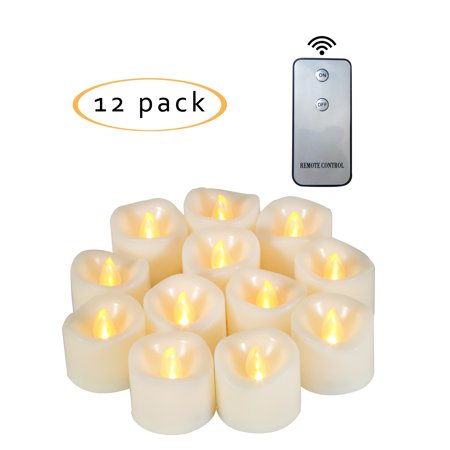Flameless LED Battery Operated Tea Light / Votive Candles with Remote 1.5