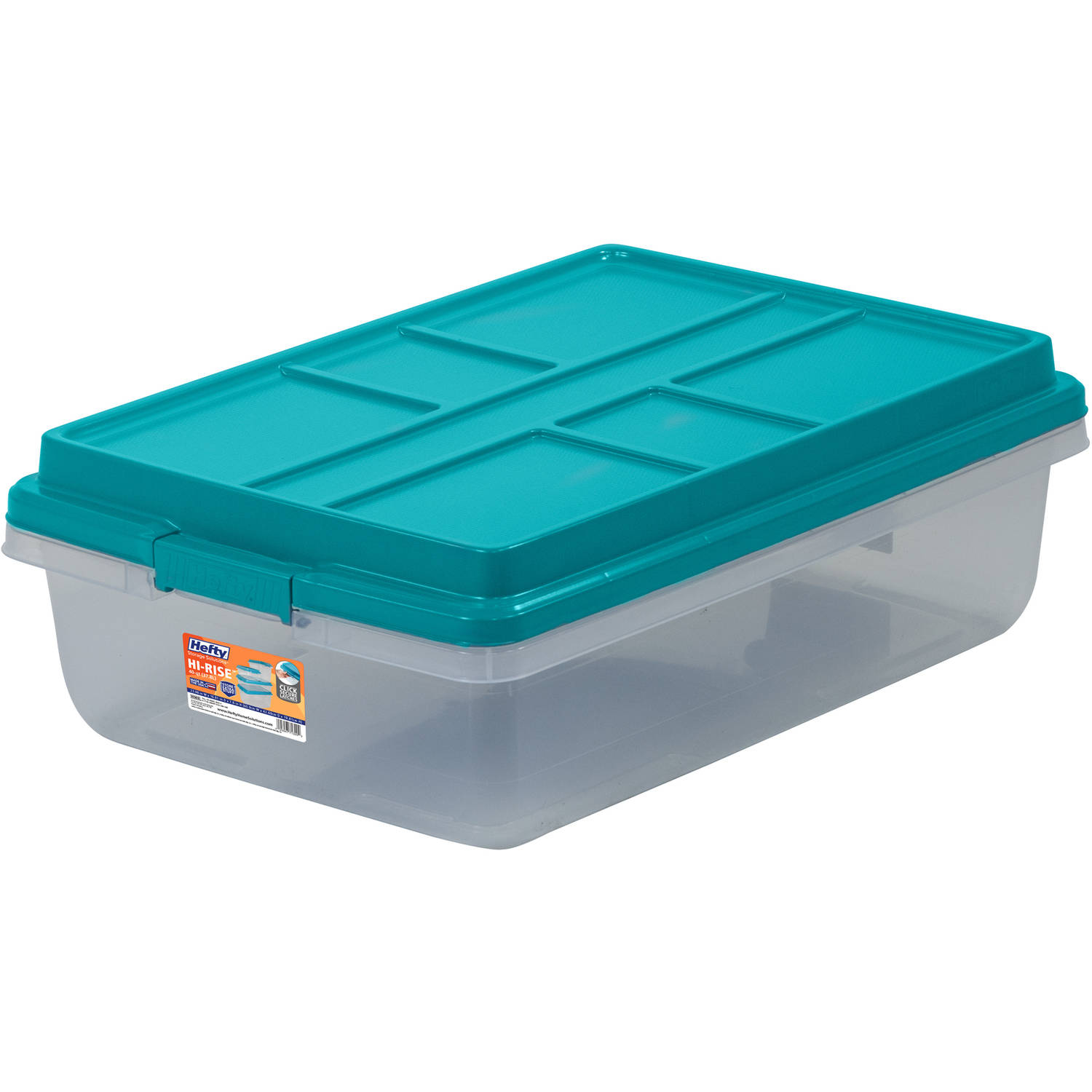 Hefty HI-RISE Storage Bins, 40 Qt. Stackable Bin with Latch, Teal/Clear