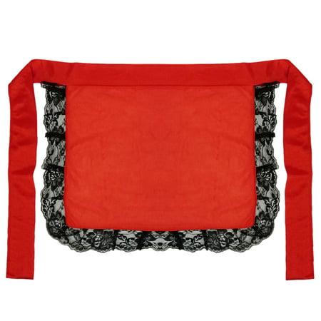 Nurses Accessories (SeasonsTrading Adult/Teen Red Nurse Maid Apron with Black Lace Ruffles Costume)