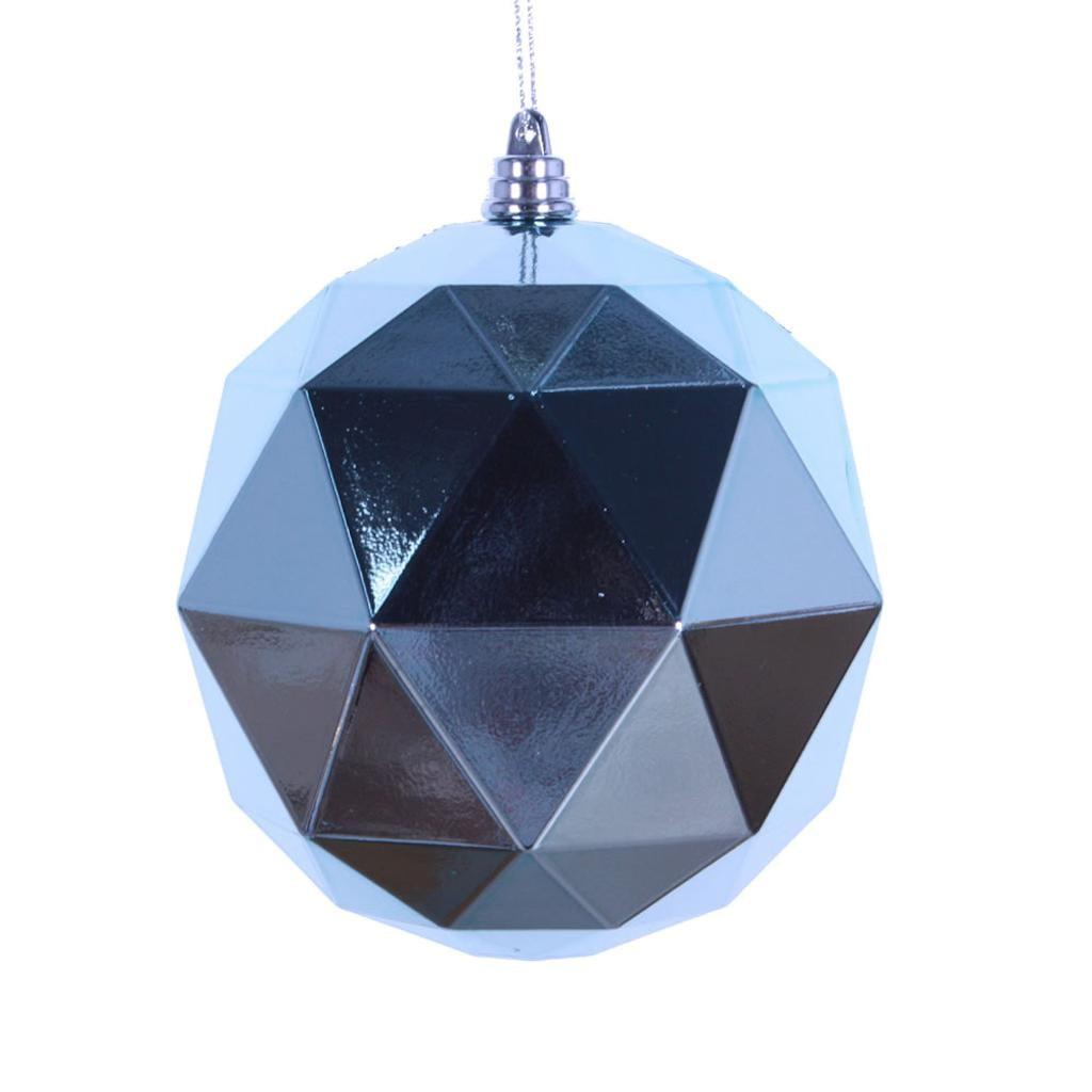 "Vickerman 468333 - 6"" Baby Blue Shiny Geometric Ball Christmas Tree Ornament (4 pack) (M177432DS)"