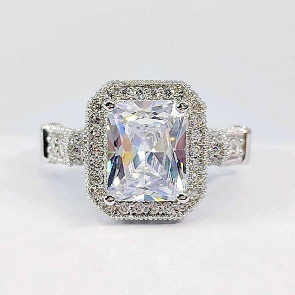 Diamond Rings For Sale Walmart: Aurelia 3CT Emerald Cut Halo IOBI Lab Created