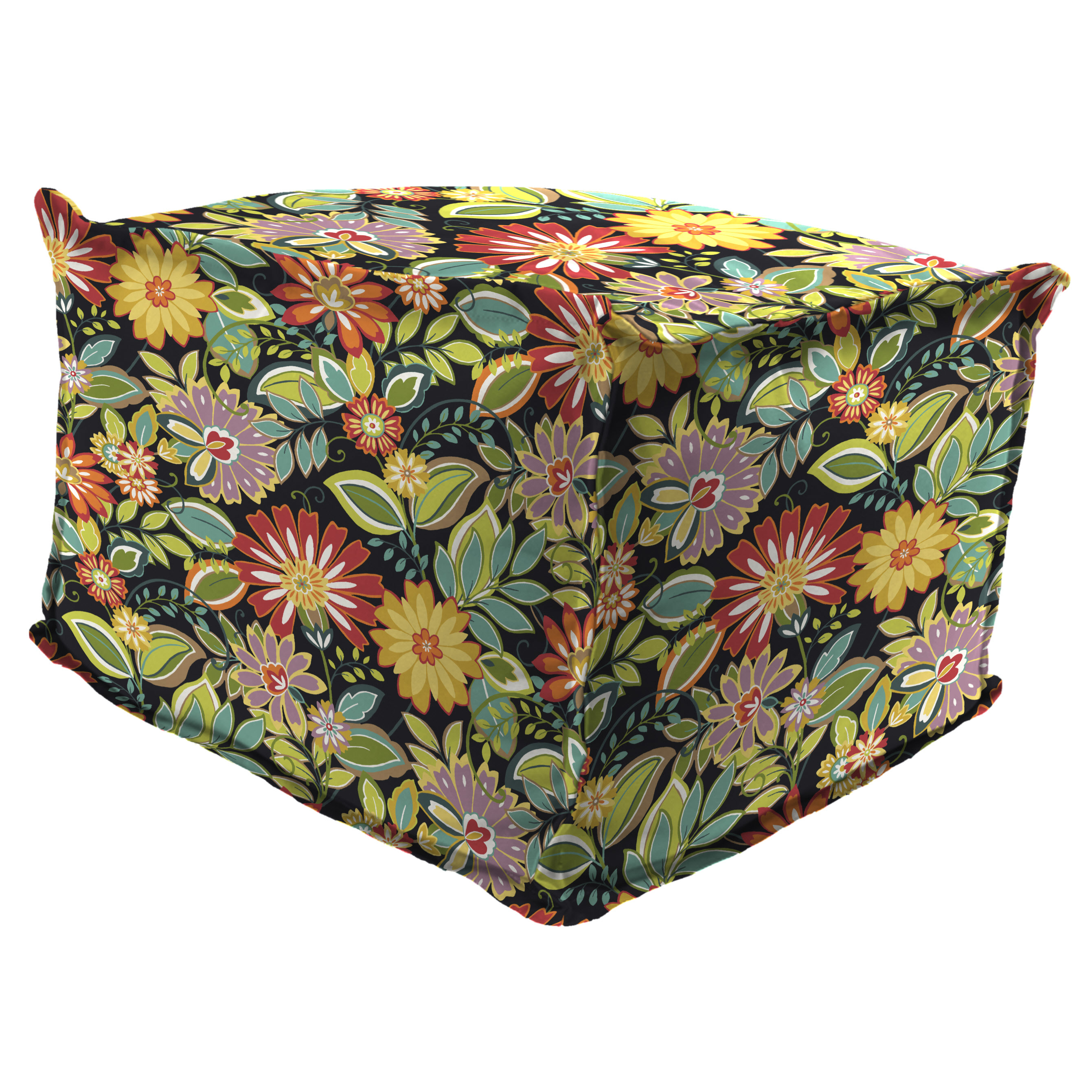 """Jordan Manufacturing Outdoor 20"""" x 20"""" Flanged Pouf/Ottoman, Bead Filled, Musgrave Jungle"""