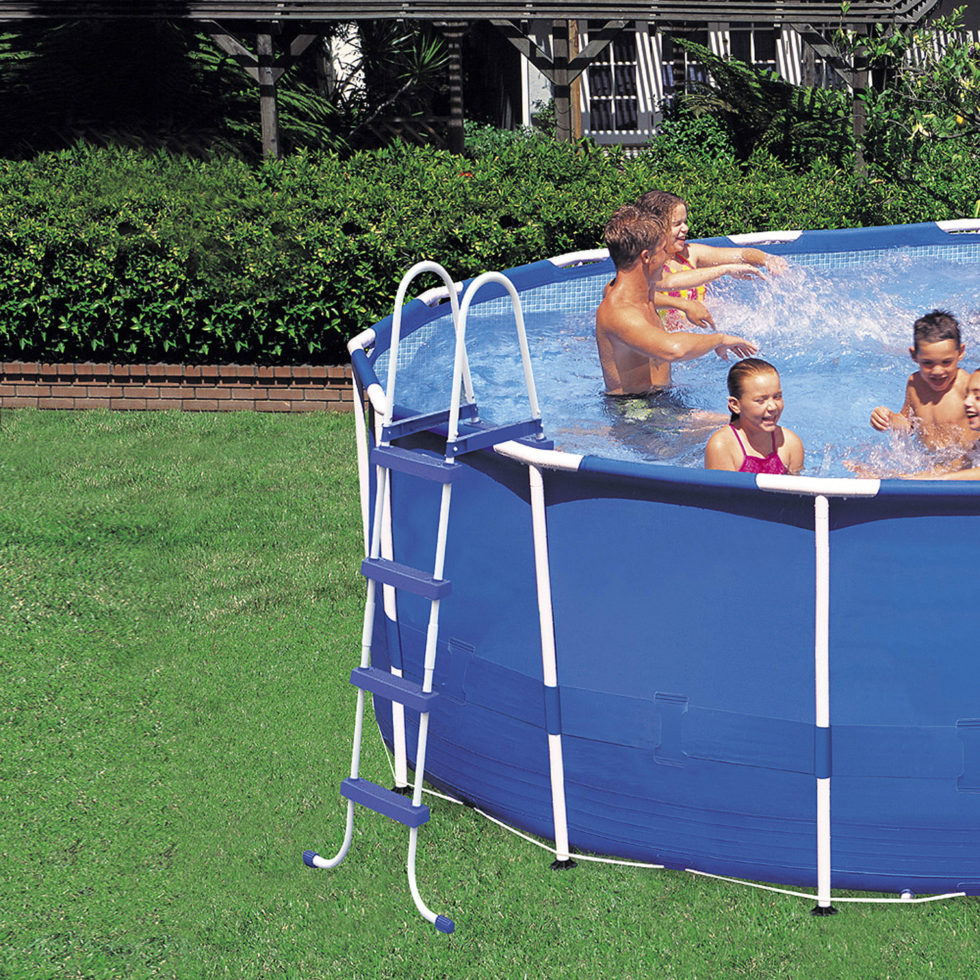 "intex 15' x 48"" metal frame above ground swimming pool with filter"
