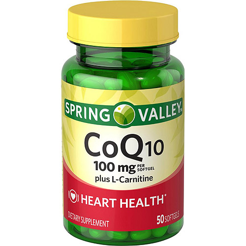 Spring Valley Co Q-10 plus L-Carnitine Dietary Supplement Softgels, 100 mg, 50 count