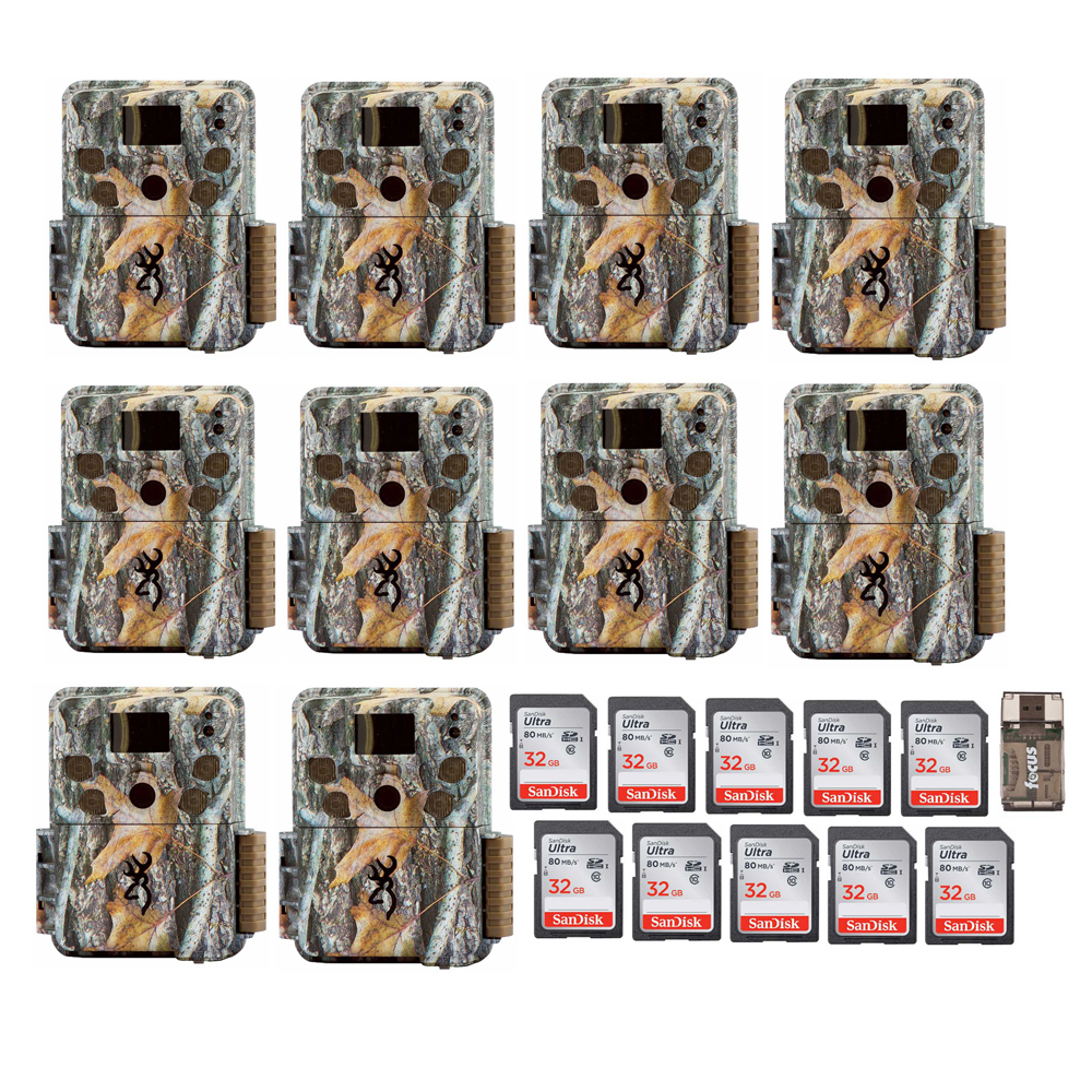 Browning Strike Force 18MP Trail Game Camera (10) with 32GB Card (10) and Reader by Browning