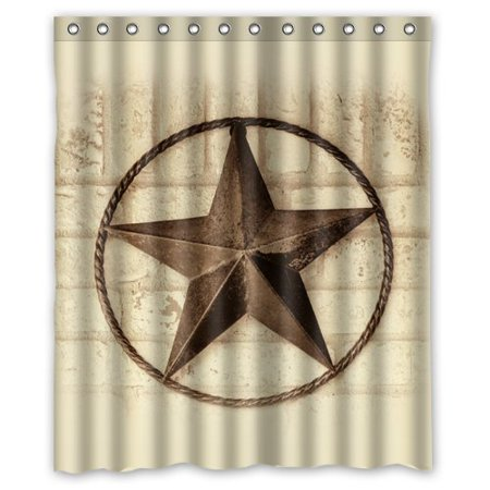 GreenDecor Western Texas Star Waterproof Shower Curtain Set with Hooks Bathroom Accessories Size 60x72 inches ()