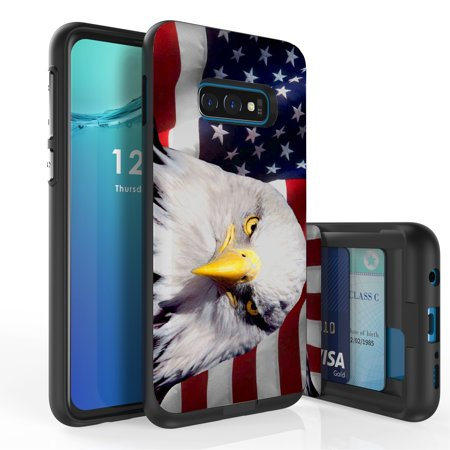 Galaxy S10e Case, Duo Shield Slim Wallet Case + Dual Layer Card Holder For Samsung Galaxy S10e [NOT S10 OR S10+] (Released 2019) Bald Eagle American Flag](Flag Holder Case)