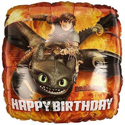 Anagram International HX How to Train Your Dragon Happy Birthday Packaged Party Balloons, Multicolor