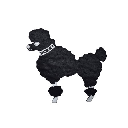 Medium Black Poodle - Facing Left - Iron on Applique/Embroidered Patch