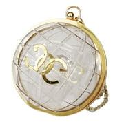 Girls Gold Lock Edge Iron Metal Shoulder Strap Clear Globe Bag Clutch