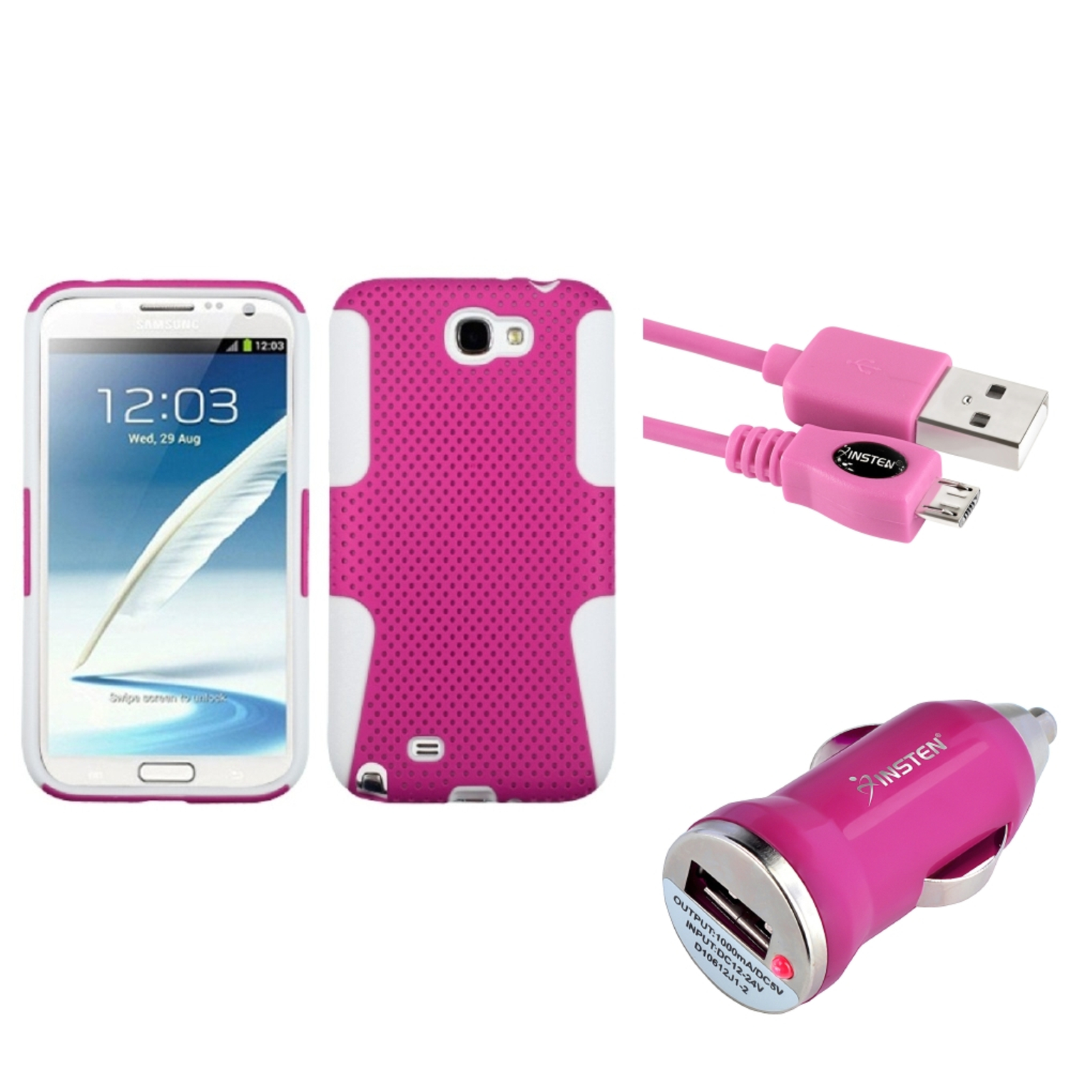Insten White/Pink Hybrid Case+3FT USB Cord+Car Charger For Samsung Galaxy Note 2 II