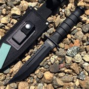 "Defender-Xtreme 10.5"" Hunting Knife With Nylon Sheath & Blade Sharpener Heavy Duty"