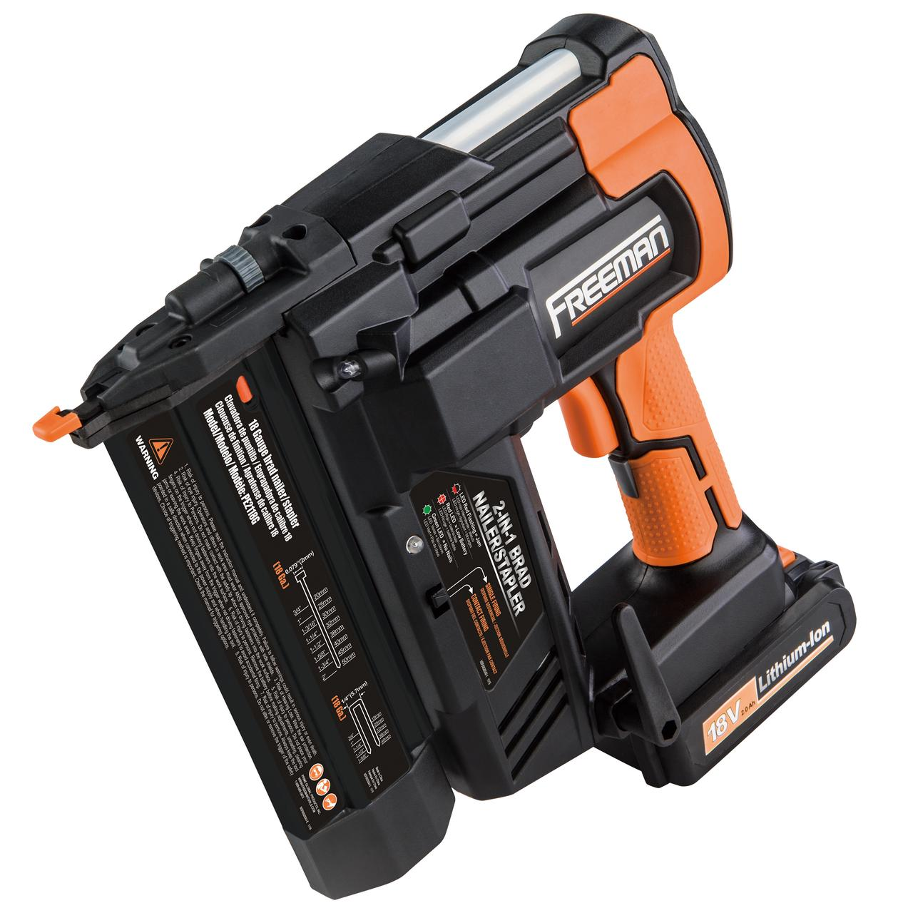 Freeman PE2118G 18 Volt 2-in-1 Cordless Nailer & Stapler w/Batteries