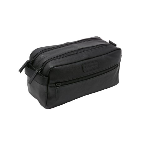 AlpineSwiss Sedona Toiletry Bag Genuine Leather Shaving Kit Dopp Kit Travel Case Black One Size