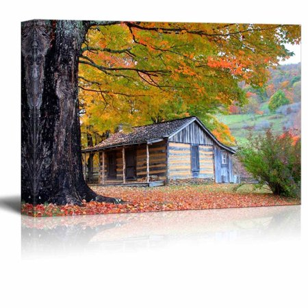 Cabin Wall Art - Canvas Prints Wall Art - Beautiful Cabin in Fall During Peak Season| Modern Home Deoration/Wall Decor Giclee Printing Wrapped Canvas Art Ready to Hang - 12