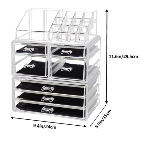 Zimtown 7 Drawer  Cosmetic Makeup Case Lipstick Jewelry Brush Holder Storage Organizer Transparent