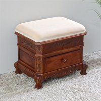 International Caravan Windsor Storage Vanity Stool in Walnut Stain