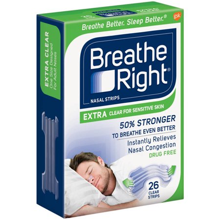 Breathe Right Extra Nasal Strips, Clear Color for Sensitive Skin, Drug Free, 26 Strips