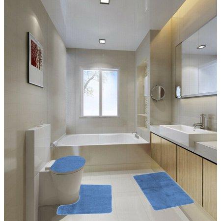 3 Piece LUXURY PLUSH® Light Blue Soft Bathroom Bath Mat Set Extra Absorbent Solid Bath Rug 19