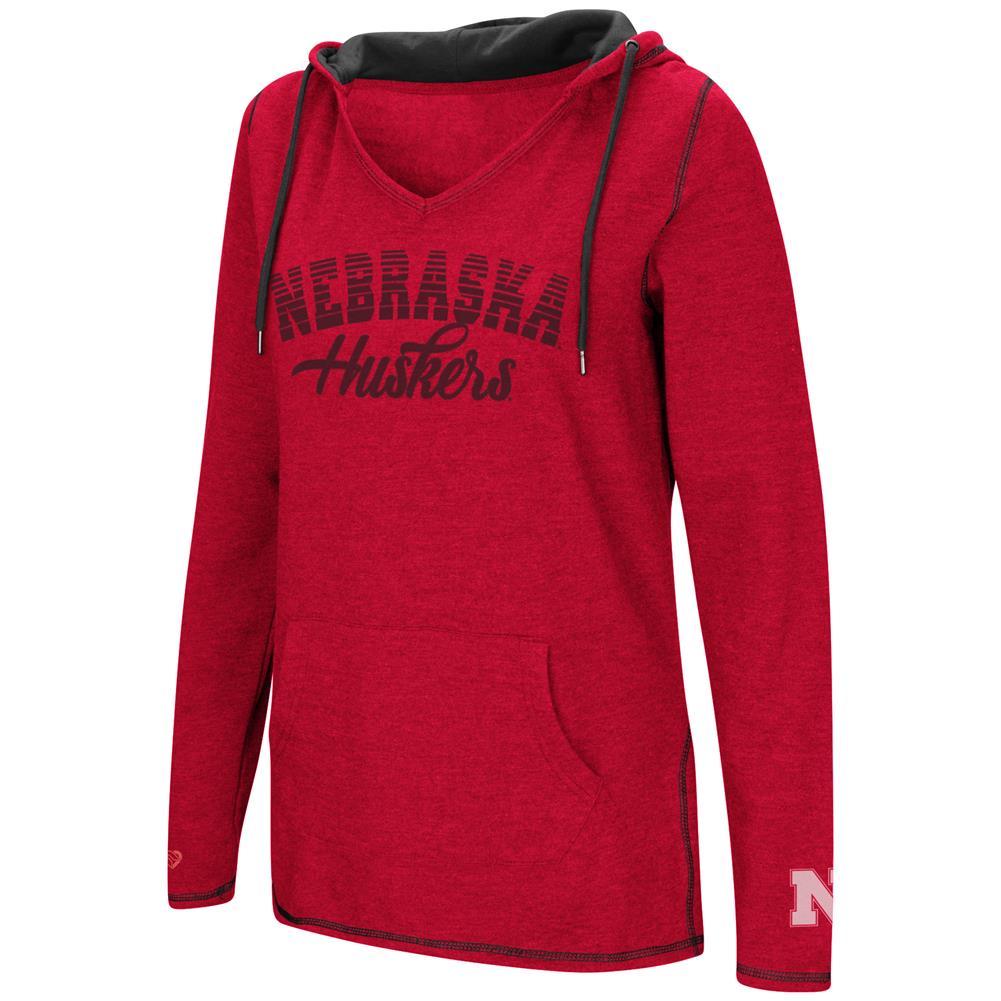 Nebraska Cornhuskers Ladies V-Neck Hoodie Pullover Sweatshirt