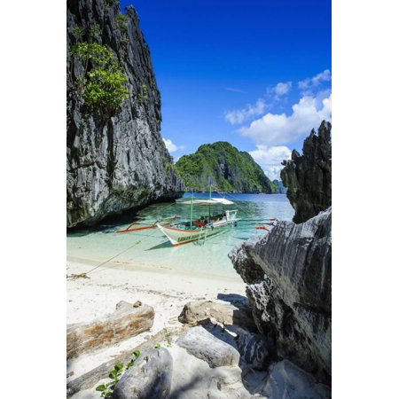 Crystal Boat (Outrigger Boat on a Little White Beach and Crystal Clear Water in the Bacuit Archipelago Print Wall Art By Michael Runkel )