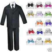 6pc Baby Boy Kid Teen Extra Bow tie Wedding Formal BLACK Vest Necktie Suits S-20