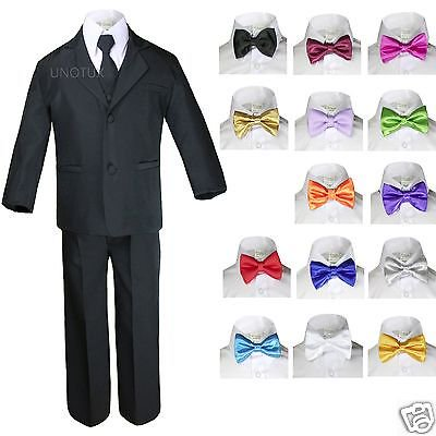 6pc Baby Boy Kid Teen Extra Bow tie Wedding Formal BLACK Vest Necktie Suits - Black Boys Suits