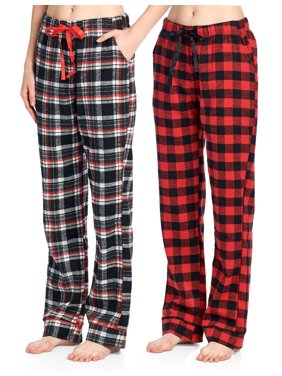 Product Image Ashford   Brooks Women s Super Soft Flannel Plaid Pajama  Sleep Pants - Black Ivory - X 47af5df7f