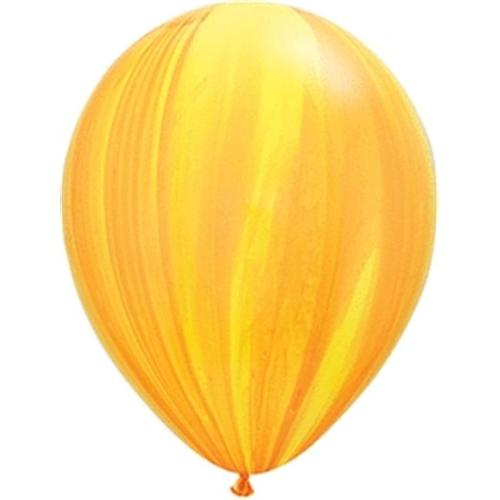 Mayflower Balloons 10512 11 Inch Yellow and Orange Agate Latex Pack Of 25