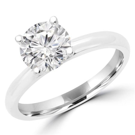 MD170252-5.25 0.33 CT Round Diamond Promise Solitaire Engagement Ring in 14K White Gold - Size 5.25