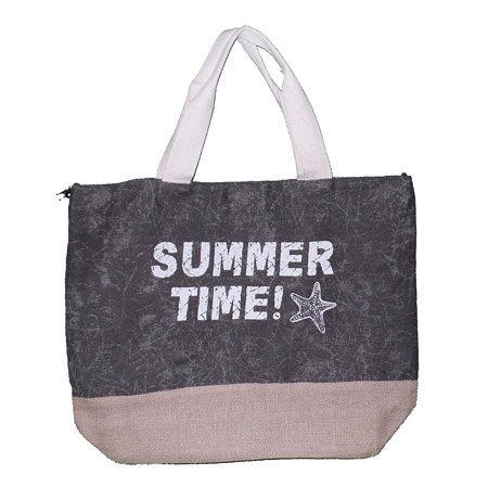 Summer Time Print Beach Tote Bag with Mesh Webbed Handle (Olive Green)