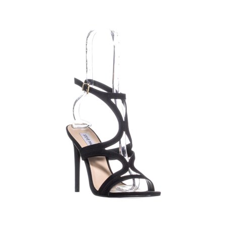 96a4368f445 Womens Steve Madden Sidney Ankle Strap Heeled Sandals, Black, 8.5 US