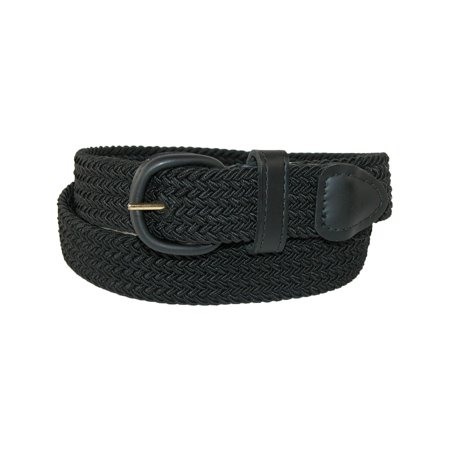 Men's Big & Tall Elastic Braided Belt with Covered Buckle,