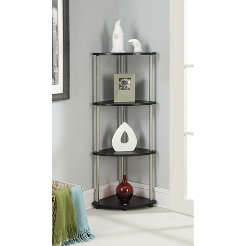 Designs 2 Go 4 Shelf Corner Bookcase by Convenience Concepts, Black and Silver