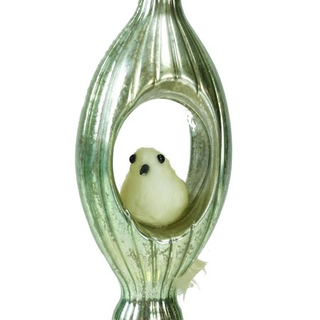 "7"" Mint Green Mercury Glass Finial Christmas Ornament with Bird - image 1 of 2"
