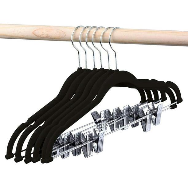 Velvet Skirt Hangers 24 Packs Velvet Hangers with Clips Ultra Thin Non Slip Velvet Pants Hangers Space Saving Clothes Hanger (Black)