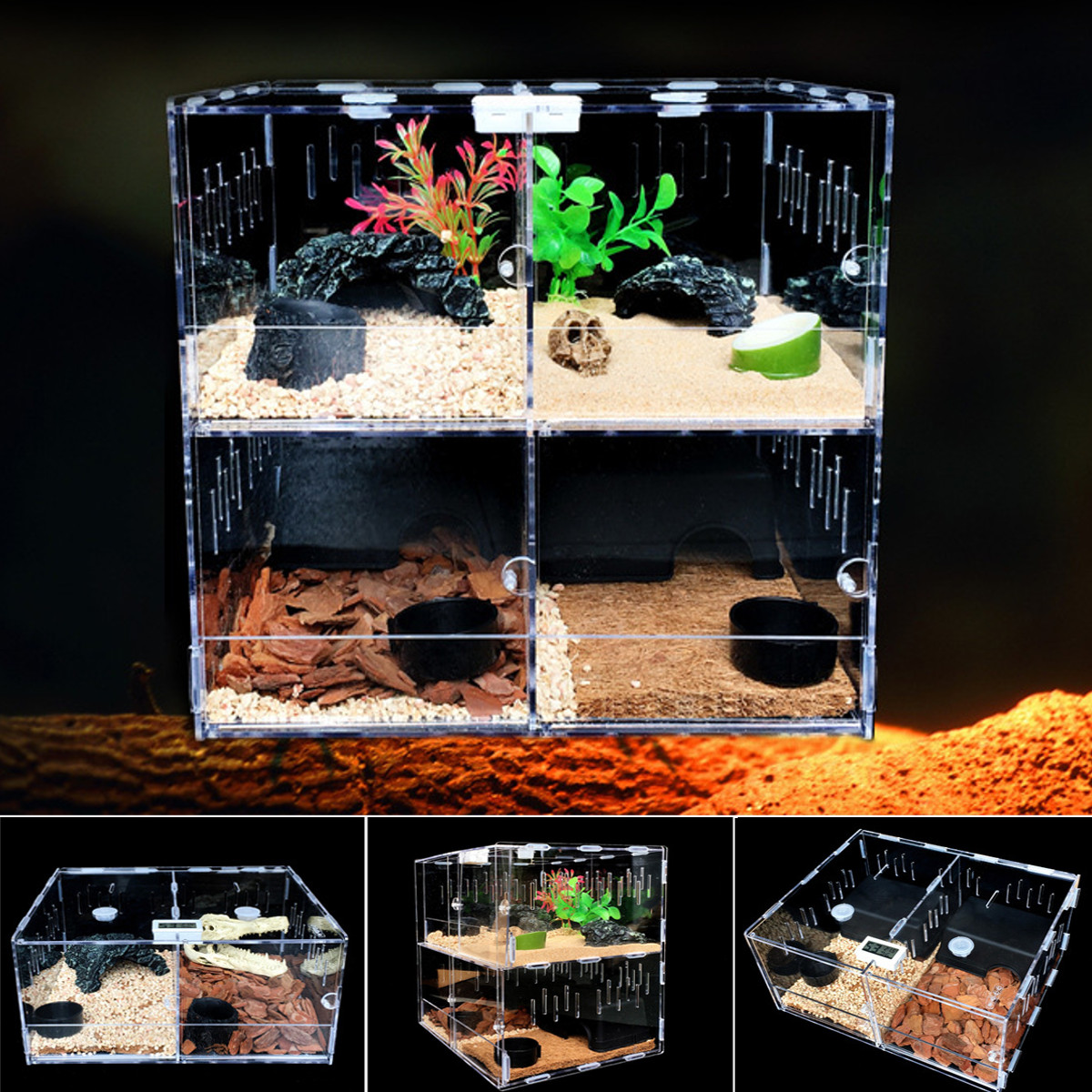 Reptile Acrylic Turtle Pet Insect Spider Lizard Breeding Tank Kit Clear House,Temperature & Hygrometer & Breathable Holes Designed