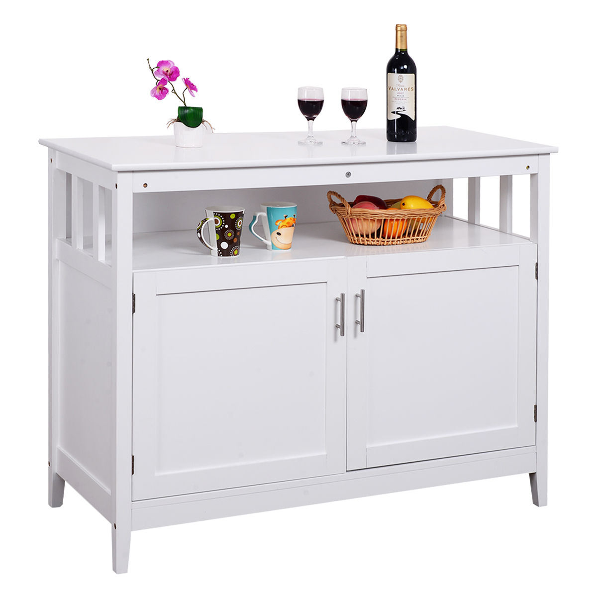 Costway Modern Kitchen Storage Cabinet Buffet Server Table Sideboard Dining Wood White by Costway