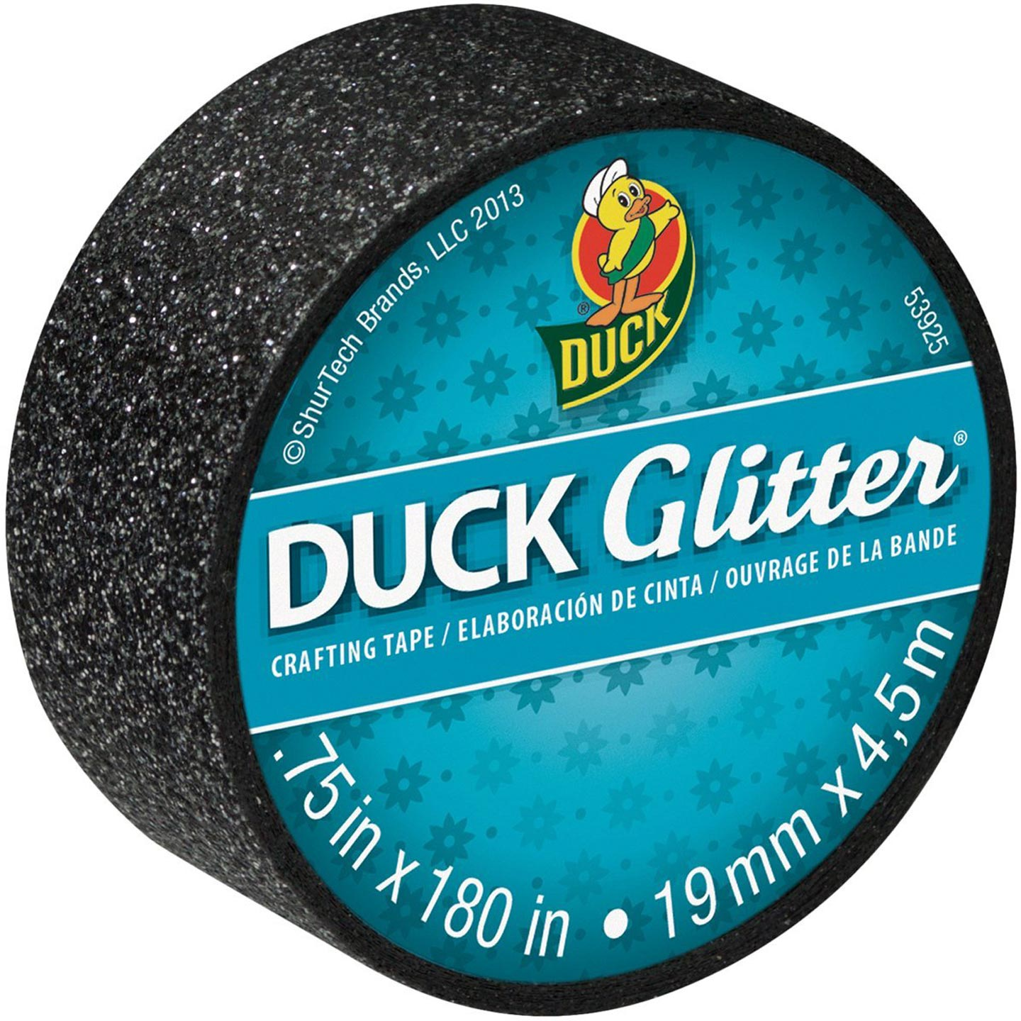 Duck Glitter Crafting Tape. Black. .75 in x 5 yd
