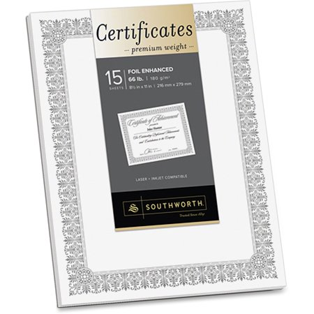 - Southworth, SOUCTP1W, Foil Enhanced Certificates - Fleur Design, 15 / Pack, White,Silver