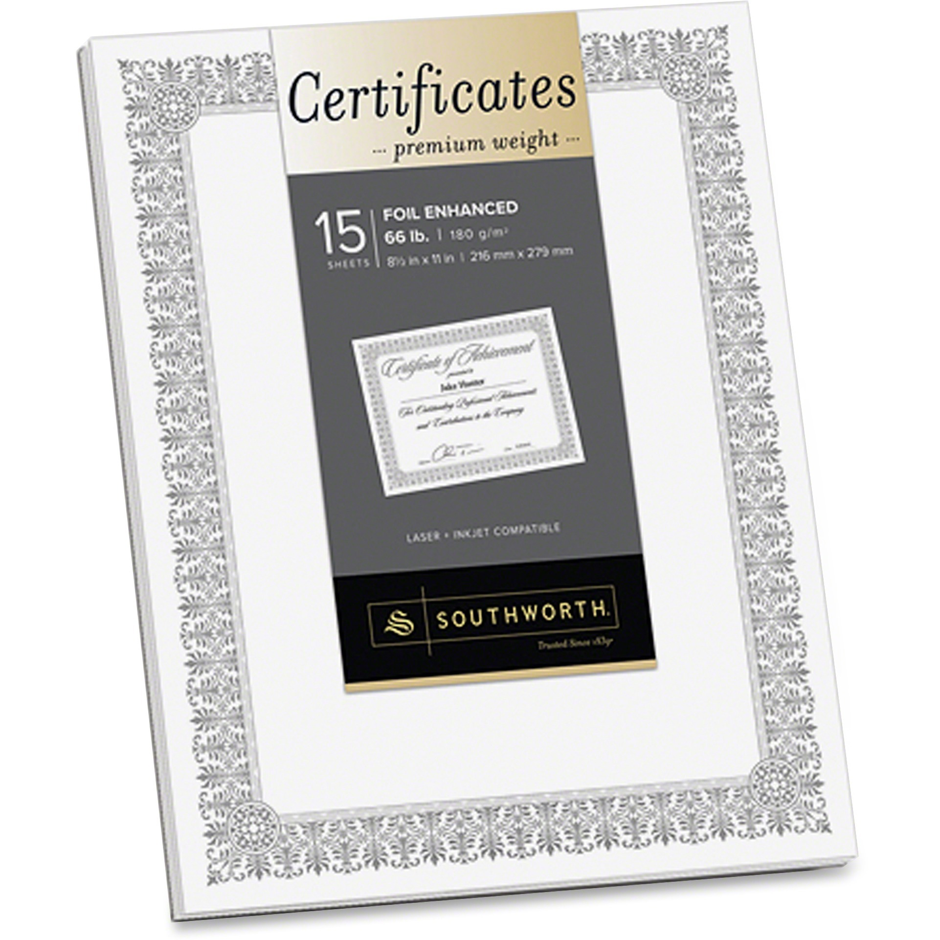 Southworth, SOUCTP1W, Foil Enhanced Certificates - Fleur Design, 15 / Pack, White,Silver